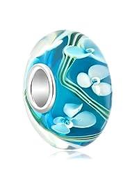 Charmed Craft 925 Sterling Silver Flower Murano Glass Beads Fits European Bracelets