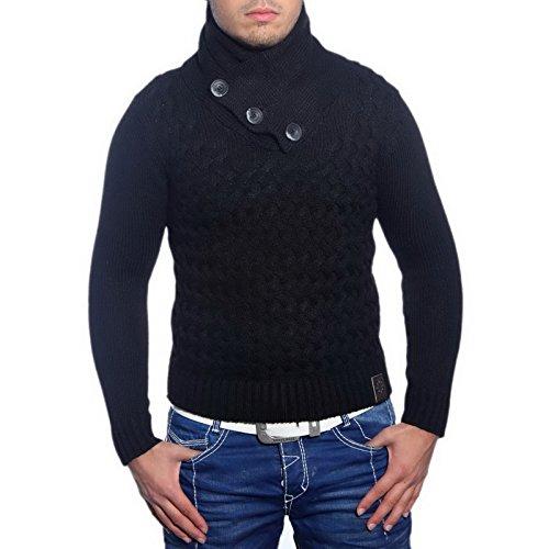 R-Neal 3158 Herren Pullover Grobstrick Schalkragen Pulli Sweatshirt Jacke Hoodie, Größe:M, Farbe:Schwarz