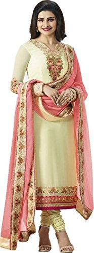 (Laxminarayan Georgette Fabric Heavy Embroidered Designer Churidar Salwar Suit with Banarasi Silk Dupatta (Medium,)