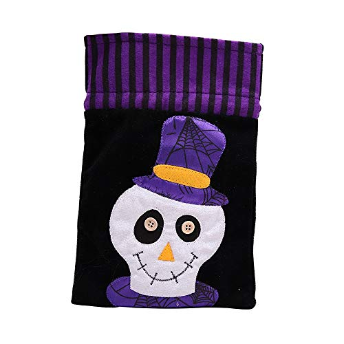Yingealy Party Supplies Party Bags 1 Pc Halloween Drawstring Candy Bag Gift Bag (Human Skeleton Style,26x16.5CM)