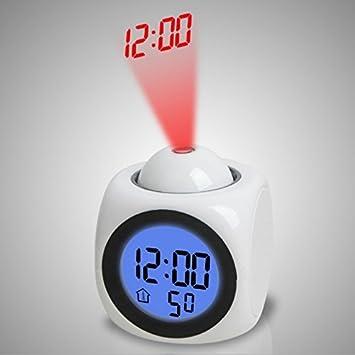 Amazon Com Projection Alarm Clock With Outdoor Temperature Home