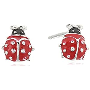 Girls' Petite Sterling Silver Red Epoxy Ladybug Stud Earrings