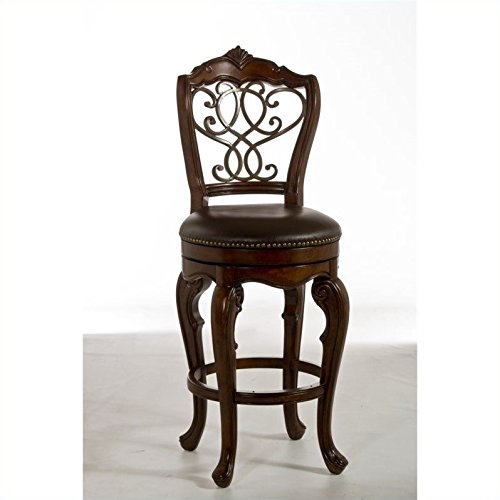 Hillsdale Burrell Swivel Stool in Brown Cherry and Old Steel-Counter Height - Counter Height