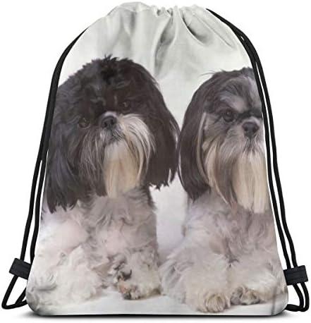 女性男性巾着バックパック36 x 43 cmの2つのかわいい犬ジムバッグ