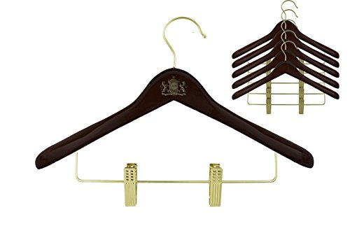 Wooden Suit Hanger With 2 Anti-rust Adjustable Clips For Pants Skirt | Polish Walnut Finish Closet Organizer (6)