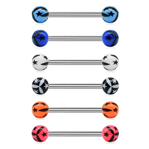 JFORYOU 14G Mix-Color Stainless Steel Straight Barbell Tongue Rings Bars Piercing 5/8