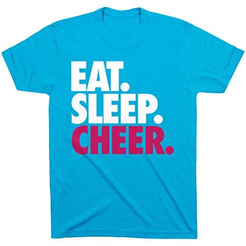 ChalkTalkSPORTS Eat. Sleep. Cheer. T-Shirt | Cheerleading Tees Turquoise | Youth Medium