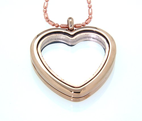 Clearly Charming Heart Floating Charm Locket Necklace, Rosegold-tone (Forever Heart Locket Woman)