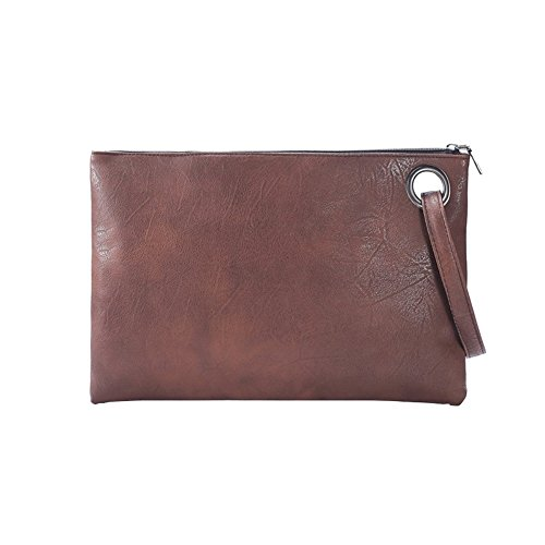 Evening Leather Purse Bag PU Envelope Handbag BEKILOLE Brown Women`s Clutch UpnffHq