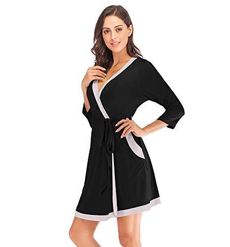 l'autunno Camicia abbigliamento per da primaverile notte Nero donna keephen da per p8qdA