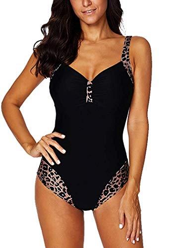Leslady Damen Badeanzug mit Tiefem V-Ausschnitt Figurformender Große Größe Einteiliger Schwimmanzug für Bauchweg