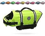 Image of VIVAGLORY Dog Life Jacket Size Adjustable Dog Lifesaver Safety Extra Bright Yellow Vest Pet Life Preserver, Extra Bright Yellow, Small