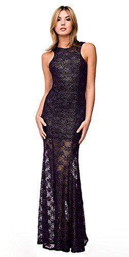 für Violett Abendkleid Brautjungfernkleid Elegant Lang Abschlussball Hochzeit Kleid Spitze Brautmutterkleid Extralang q5Z54