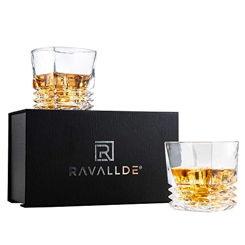 ses, Gift Pack Set Of 2 - Scotch Lead Free Liquor Tumblers, Dishwasher Safe, Classic Old Fashioned Barware, Rum Vodka Glassware, Elegant Ultra Clarity Cocktail Bourbon Whisky Glass ()
