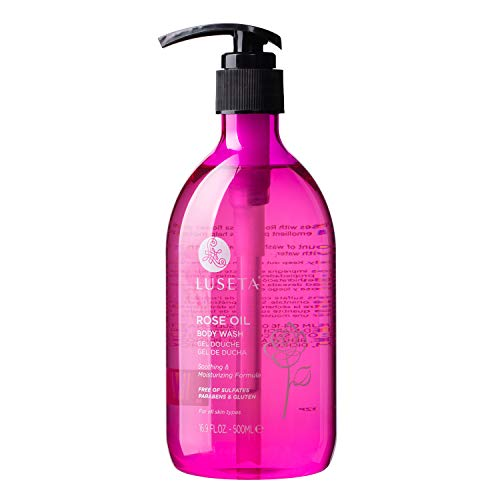 Luseta Rose Oil Body Wash, Ultra Hydrating Shower Gel for Nourishing Essential Body Care, Sulfate & Paraben Free 16.9oz