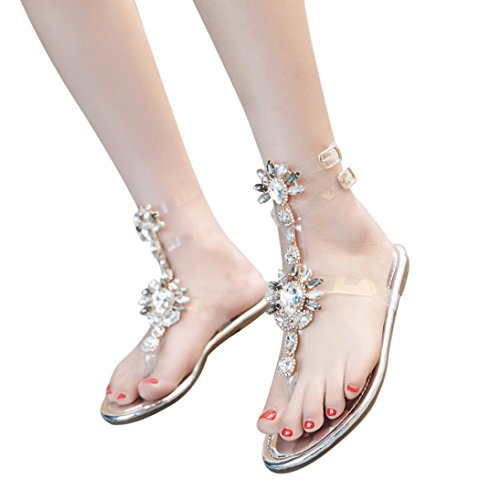 Womens Rhinestone Sandals Clearance, NDGDA Chains T-Strap Comfortable Flat Crystal Sandals