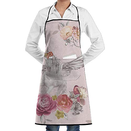LOGENLIKE Unicorn With Wings Kitchen Aprons, Adjustable Classic Barbecue Apron Baker Restaurant Black Bib Apron With Pockets For Men And Women