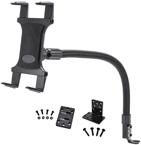 Gooseneck Tablet Mount for Car and Truck - TACKFORM [Enterprise Series] Industrial 18 Inch Gooseneck Seat Rail Device Holder for Taxi, Van, Vehicle. For all devices including iPad, Galaxy, Surface Pro