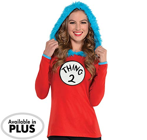 Costumes USA Dr. Seuss Adult Thing 1 & Thing 2 Hooded Long-Sleeve Shirt for Women, Large/Extra Large, Includes 2 Patches -