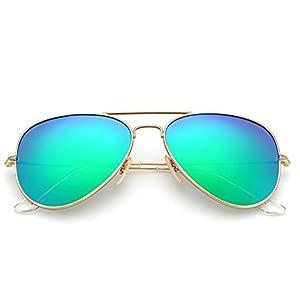 YuFalling Polarized Aviator Sunglasses for Men and Women (gold frame/green lens, 58)