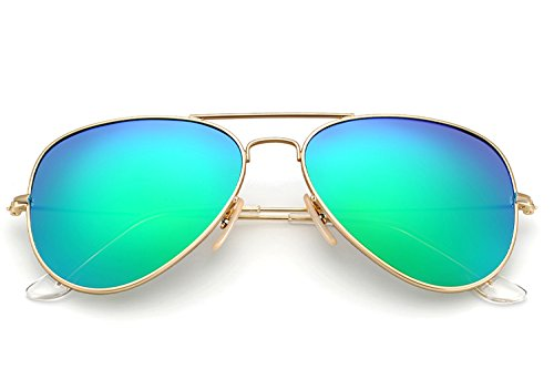 YuFalling Polarized Aviator Sunglasses for Men and Women (gold frame/green lens, 58) 13 Sunglasses Gold Frame