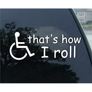 Thats how i roll wheelchair sticker man vinyl decal cute gift disabled handicap die cut vinyl decal for windows cars trucks tool boxes laptops