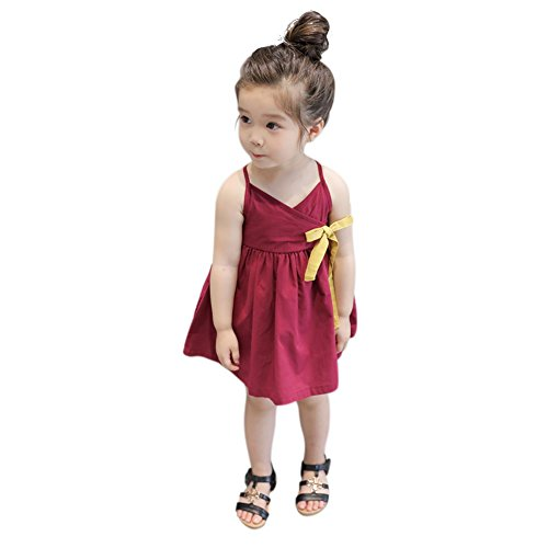 Girls Casual Dress Slip (Loveble Little Girls Dress, Bowknot Casual Summer Skirt Korean Version Slip Dress 3-7 Years)