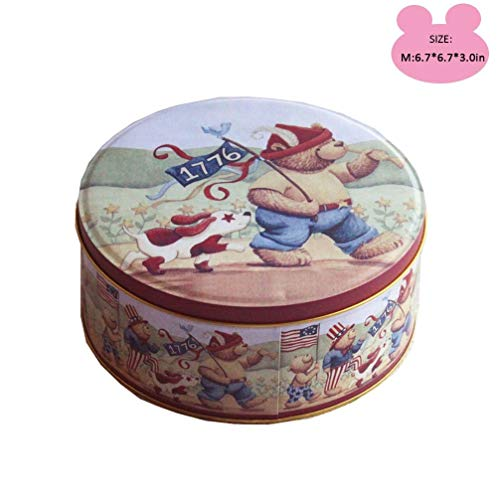 SISIMOM Cookie Tins with Classic Bear Pattern for Gift Giving Empty Candy Treat Swap Containers Snack Exchange Boxes