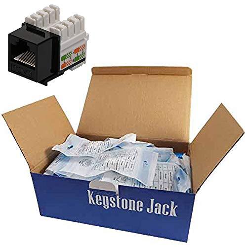 CNAweb Cat6 RJ45 Modular Keystone Jack, 110 Style, Black - Box of - Modular Keystone Jack Cat6