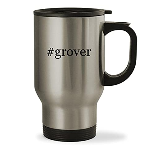 #grover - 14oz Hashtag Sturdy Stainless Steel Travel Mug, Silver (Tag Junior Books Thomas)