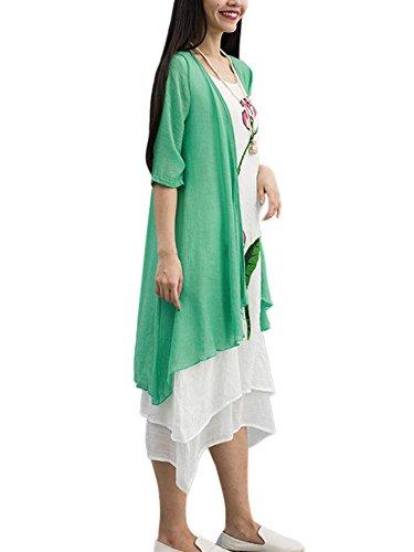Solid Style Cardigan Beige match All Women Ethnic Linen Cotton Beach EgqdRR