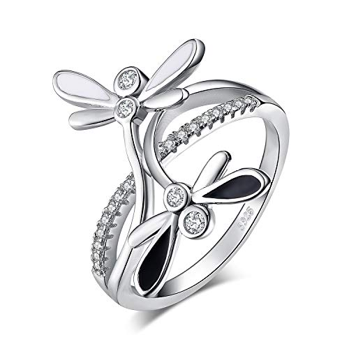 JewelryPalace 925 Sterling Silver Double Dragonfly Infinity CZ Pave Split Shank Cubic Zirconia Ring size 6
