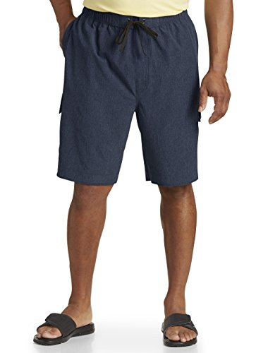 Harbor Bay DXL Big and Tall 4-Way Stretch Solid Swim Trunks, Navy - Swimwear Destination