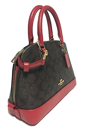 Coach Brown Inclined Purse Handbag Women��s Shoulder Satchel True Sierra Red Shoulder Mini 1Zx1gp