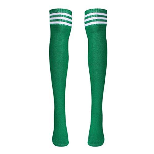 Inkach(TM)1 Pair Thigh High Socks Over Knee Girls Football Socks Black Green t1kjfqDq