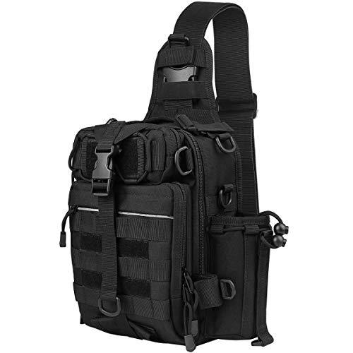 Fyland TB12 Fishing Tackle Bag Water Resistant Shoulder Sling Pack Chest Pack Messenger Bag Outdoor Tackle Backpack for Fishing Gear Storage, Black