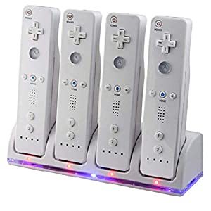 SANON Wii Remote Dual Charger Dock Station, for Nintendo Wii Controller, 4 IN 1 Controller Charging Dock with 4…