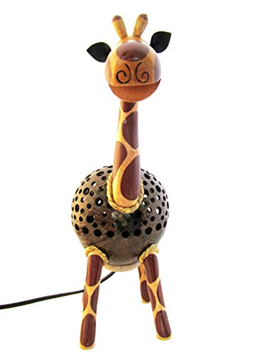 Animal Night Light for Kids Wood Coconut Shell Lamp for Bedroom from Thailand (Giraffe) by Blue Orchid (Image #1)