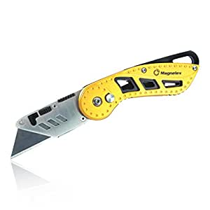 Magnelex Folding Utility Knife with 5pcs. Extra Blades and Storage Pouch, Single Button Quick Blade Change Box Cutter