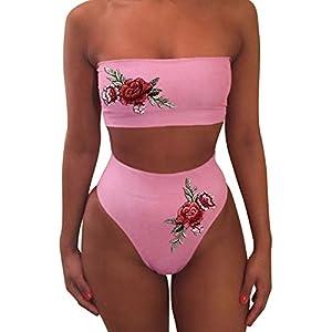 iLUGU One Pieces Bikini for Women Bandeaux Briefs Rose Pattern Swimwear Swimsuit Beachwear