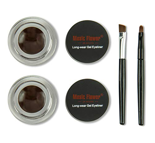 Frola 2 In 1 Long-wear Gel Eyeliner Smudge-proof & Waterproof, Last for All Day Long, 2 Pieces Eye Makeup Brushes…