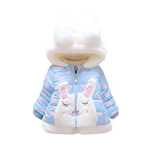 Omiky® Baby-Säuglingsmädchen-Herbst-Winter-mit Kapuze Mantel-Mantel-Jacke-starke warme Kleidung Blau