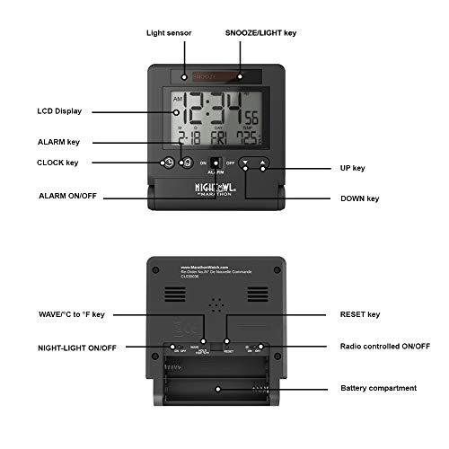 Marathon CL030036BK Atomic Travel Alarm Clock with Auto Back Light Feature, Batteries Included (Black)