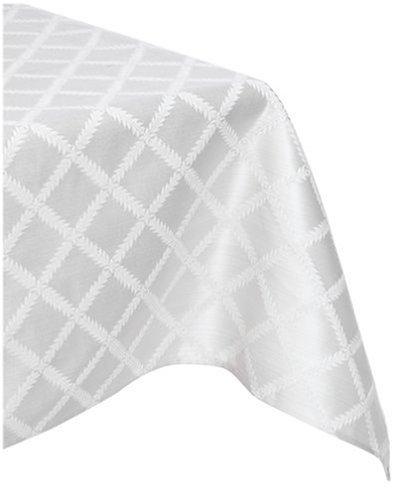Lenox Laurel Leaf 70-by-144-Inch Oblong / Rectangle Tablecloth, Platinum by Lenox