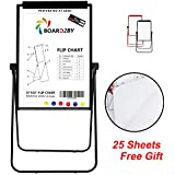"""Board2by U-Stand Whiteboard Easel - 24"""" x 36"""" Double Sided Magnetic Dry Erase Flipchart Black Stand, 360 Degree Rotating, Exclusive Design Magnetic Eraser&Pens, 25-Sheet Papers, 6 Magnets for Free"""