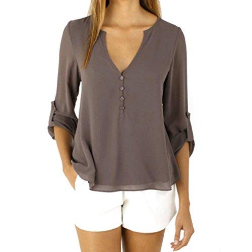 Womens Long Sleeve Loose Chiffon Blouse Casual Henley V-Neck Solid Shirt ()