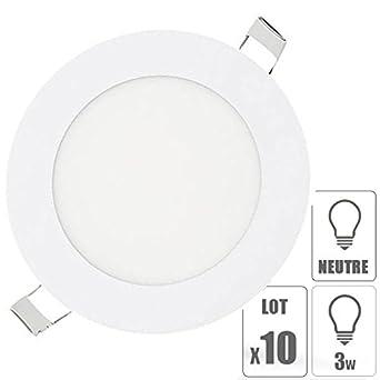 b82a1e1048d16 TechBox lot x10 Spot led encastrable extra plat downlight rond 3w slim blanc  neutre 4000°