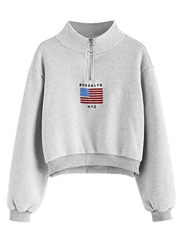 - ZAFUL Women's Mock Turtleneck Sweatshirt American Flag Drop Shoulder Cropped Pullover Tops(Gray-M)