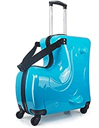 Suitcase for Kids,Children Ride on Luggage Set,Unisex Travel Tots Kids Trunk (Blue, 24inch)