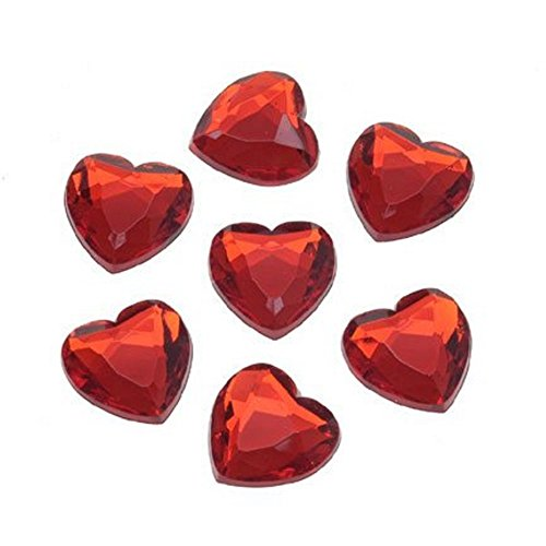 Premium Acrylic Heart Rhinestones - Ruby Red (18MM, 8 pieces, Flat Back)